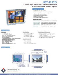 12 inch high bright industrial display monitor datasheet