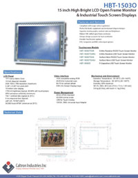 15 inch high bright industrial display monitor datasheet