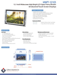 12 inch sunligh readable widescreen display monitor datasheet