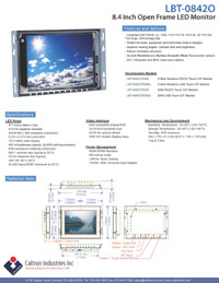 8.4 inch led lcd industrial display monitor datasheet