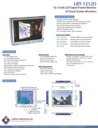 12 inch led lcd industrial display monitor datasheet