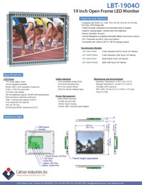 19 inch lcd industrial display monitor datasheet