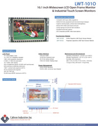 10.1 inch widescreen industrial display monitor datasheet