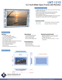 12 inch widescreen industrial display monitor datasheet