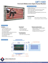 15.6 inch widescreen industrial display monitor datasheet