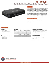 high-def standalone digital signage media player datasheet