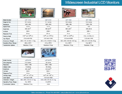 widescreen industrial display monitor datasheet
