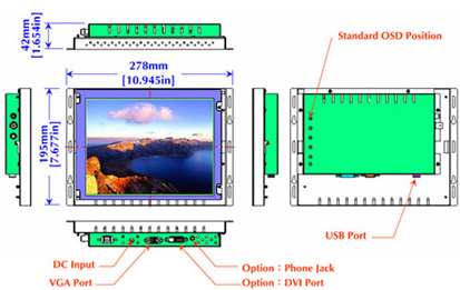 10 inch industrial display monitor mechanical diagram