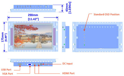 10.1 inch industrial display monitor mechanical diagram