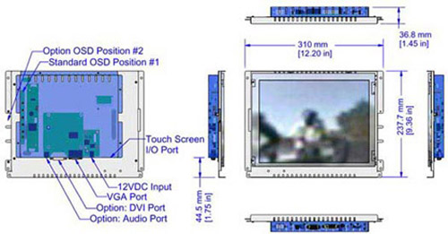 12 inch industrial display monitor mechanical diagram