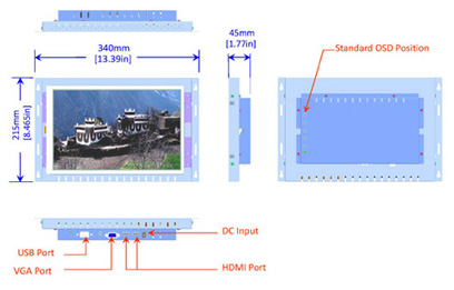 12 inch widescreen industrial display monitor mechanical diagram