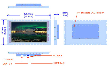 15.6 inch industrial display monitor mechanical diagram