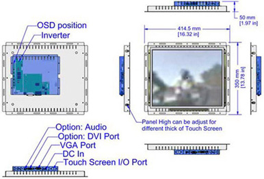 17 inch bezel-free display monitor mechanicl diagram