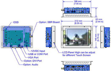 6 inch led backlight display monitor mechanicl diagram