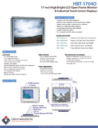 17 inch high bright industrial display monitor datasheet