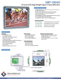 19 inch high bright industrial display monitor datasheet
