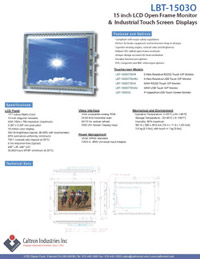 15 inch led lcd industrial display monitor datasheet
