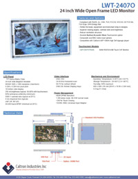 24 inch lcd industrial display monitor datasheet