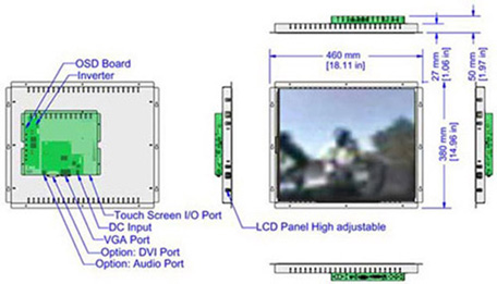 19 inch LCD open frame monitor mechanical diagram