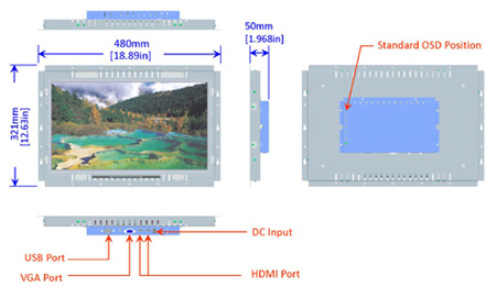 18.5 inch LCD open frame monitor mechanical diagram